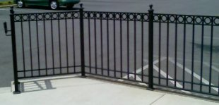 ornamental iron railing with rings